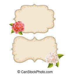 rooskleurige rozen, witte , etiketten