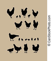 Rooster and Chicken Silhouettes