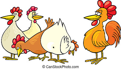 Rooster and hens - cartoon Illustration of rooster and hens