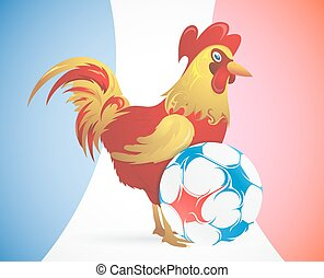 Rooster as symbol of France with soccer ball - Rooster as...
