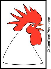 Rooster cartoon black-red color