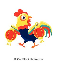 Rooster Cartoon Character Carrying Two Red Lanterns,Cock Representing Chinese Zodiac Symbol Of New Year 2017
