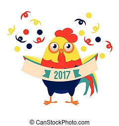 Rooster Cartoon Character Holding Festive Banner With Confetti Falling Around,Cock Representing Chinese Zodiac Symbol Of New Year 2017