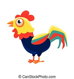 Rooster Cartoon Character Standing Calm,Cock Representing Chinese Zodiac Symbol Of New Year 2017