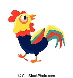 Rooster Cartoon Character Walking Around ,Cock Representing Chinese Zodiac Symbol Of New Year 2017