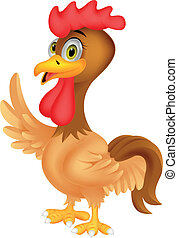 Rooster cartoon waving - Vector illustration of Rooster...