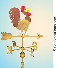 Rooster cartoon weather vane