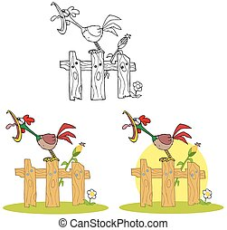 Rooster Character. Collection Set - Rooster Cartoon...