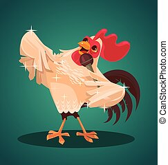 Rooster character singing song. Vector flat cartoon illustration