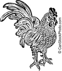 Rooster Chicken Woodcut - An original illustration of a...