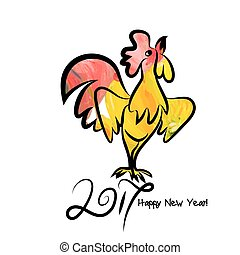 Rooster chinese new year design graphic - Year 2017 of...