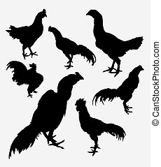 Rooster, cock, chicken silhouette - Rooster, cock, hen,...