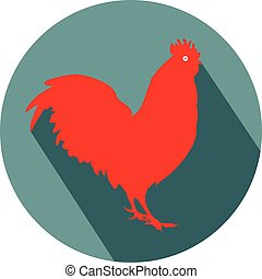 Rooster Cock flat design