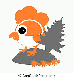 rooster, cockerel, chicken with a fir-tree  logo  symbol 2017 on the Chinese calendar. The silhouette is orange, gray two colors  the white easily separated background. Vector illustration. To use for the press, the website, undershirts, t-shirts, textiles.