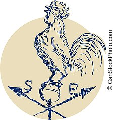 Rooster Cockerel Crowing Weather Vane Etching