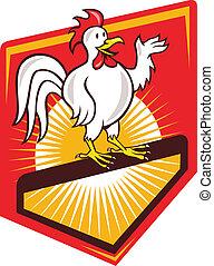 Rooster Cockerel Waving Hello Shield Cartoon - Illustration...