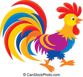 Rooster - Colorful cock, vector clip-art on a white...