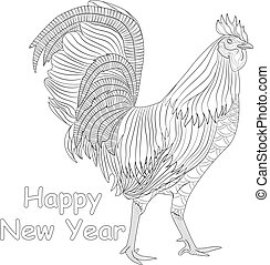 Rooster coloring book for adult, Chicken Chinese zodiac symbol of the new year. Design  t-shirt print, greeting card, calendar.