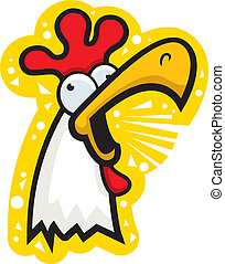 Rooster Crowing - A cartoon white rooster crowing loudly.