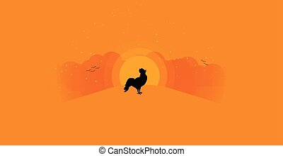 Rooster crowing at sunrise background with copy space. Cottage in an idyllic landscape of rolling clouds with sunrise in the background