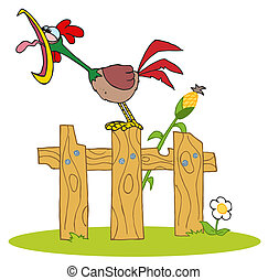 Rooster Crowing On A Wood Fence - Mascot Cartoon Character A...