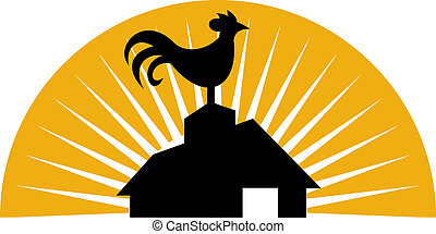 Rooster crowing on top of farm house or barn - illustration...