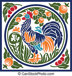 Rooster Earth Element Symbol - A stylized rooster in a...