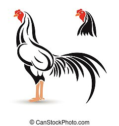 Rooster - Game-cock hand drawn sketch on white background