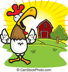 Rooster Farm - A cartoon rooster on a farm crowing.