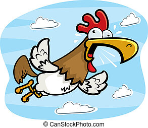 Rooster Flying - A cartoon rooster flying and crowing.