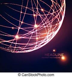 rooster, globe, illustratie, vector, neon, achtergrond.