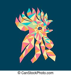rooster head colorful decorative