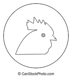 Rooster head  icon black color in circle