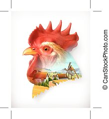 Rooster head illustration - Rooster head, double exposure...