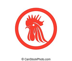 Rooster head red symbols and logo icons template