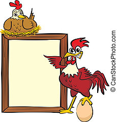 rooster, hen and billboard - advertise products and services...