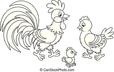 Rooster, hen and chick