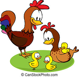 rooster, hen and chickens