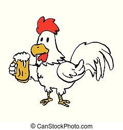 Rooster holding a mug of beer