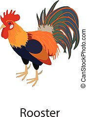 Rooster icon, isometric style - Rooster icon. Isometric...