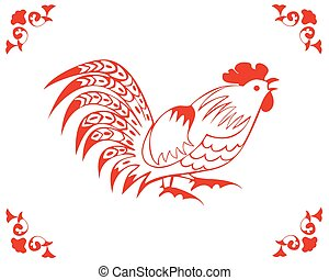 Rooster in a folk style