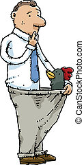 Rooster in Man's Pants - A rooster pokes its head from out...