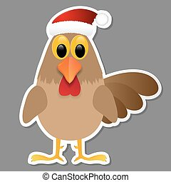 Rooster in Santa hat isolated on grey background.