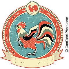 Rooster label on old paper texture. Vintage style