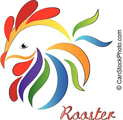 Rooster logo - Rooster symbol vector icon in vivid colors