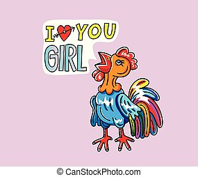 Rooster Love You girl Cartoon