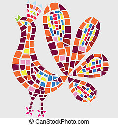Illustrations rooster mosaic