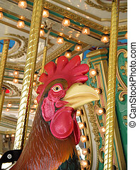 Rooster ON A CAROUSEL - A beautiful Rooster on a carousel...