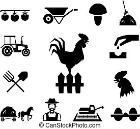 Rooster on fence surrounded by farm themed icons on white...