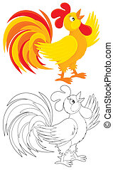 Rooster - red and yellow cock crowing, color and black-and-...